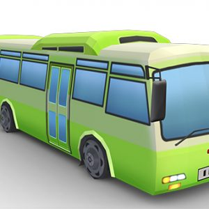 green_bus_low_poly22